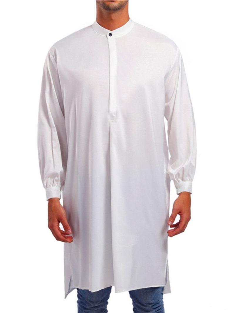 Ericdress African Fashion Asymmetric Casual Plain Men's Loose Shirt