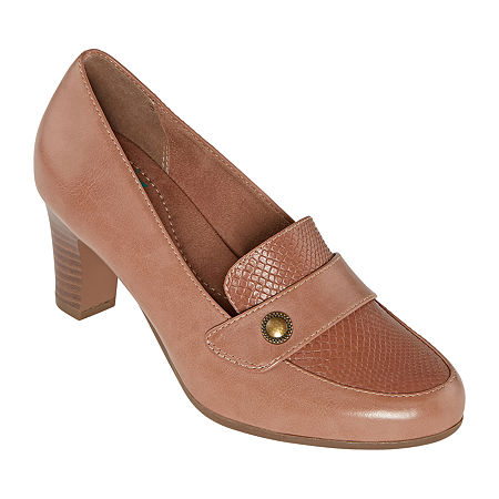 Yuu Womens Tessa Round Toe Stacked Heel Pumps, 6 1/2 Medium, Pink