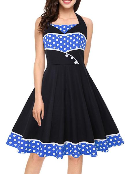 Milanoo Vintage Pin Up Dress 1950s Red Polka Dot Sleeveless Swing Dress