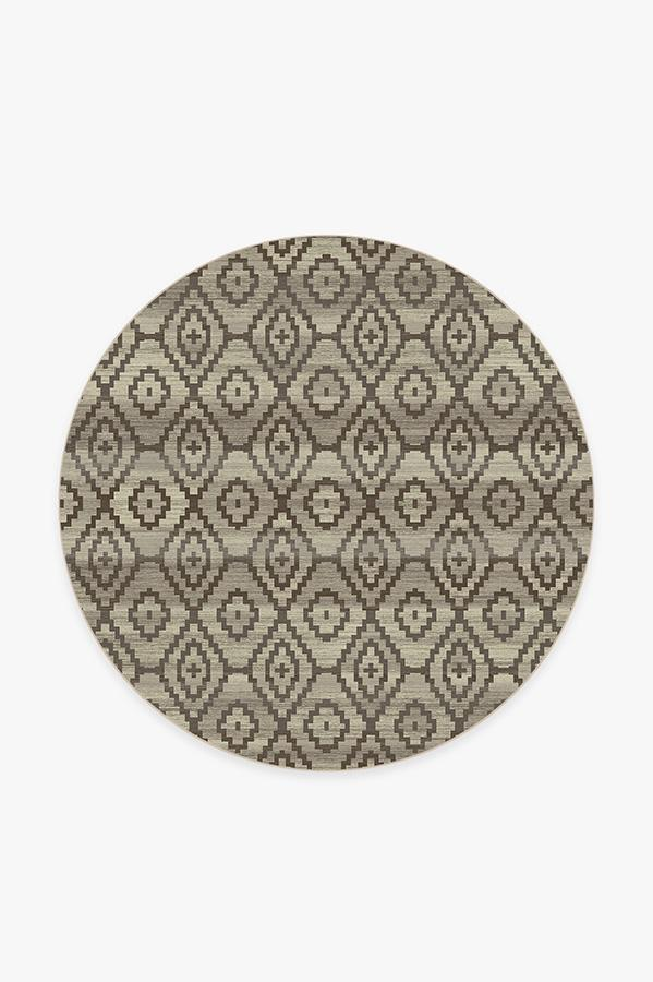 Washable Rug Cover & Pad | Diamond Trellis Neutral Rug | Stain-Resistant | Ruggable | 6 Round