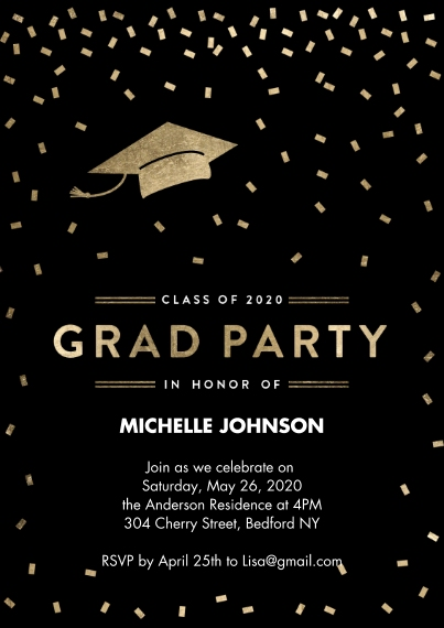 2020 Graduation Invitations 5x7 Cards, Premium Cardstock 120lb with Elegant Corners, Card & Stationery -2020 Grad Party Confetti by Tumbalina