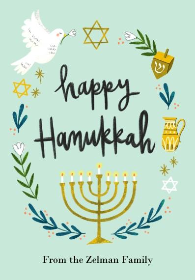 Hanukkah Photo Cards 3.5x5 Folded Notecard, Card & Stationery -Handpainted Hanukkah