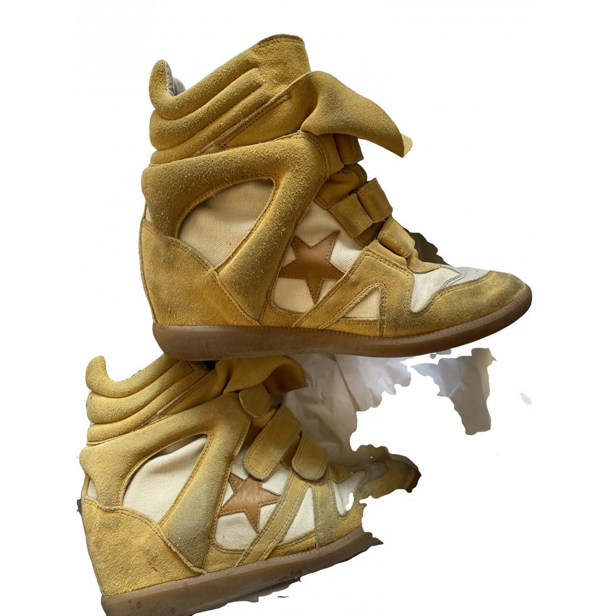 Isabel Marant Willow Sneakers in  Gelb Veloursleder