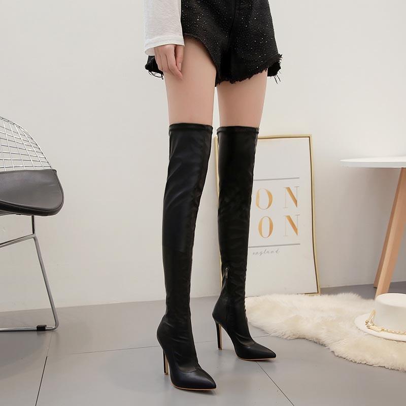 Ericdress Plain Stiletto Heel Pointed Toe Women's Over-The-Knee Boots