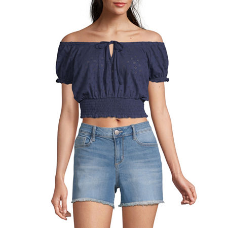 Arizona Womens Straight Neck Short Sleeve Blouse - Juniors, Medium , Blue