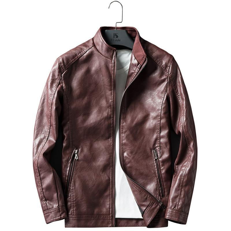 Men Zipper Dual Pockets Stand Collar Leather Jacket