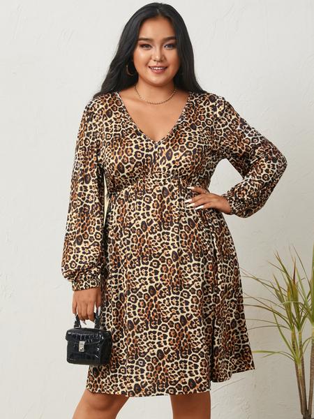 Yoins Plus Size V-neck Leopard Long Sleeves Midi Dress