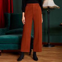 Einfarbige Hose mit breitem Beinschnitt