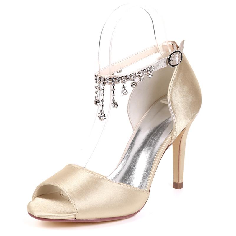 Ericdress Rhinestone Peep Toe Line-Style Buckle Wedding Shoes