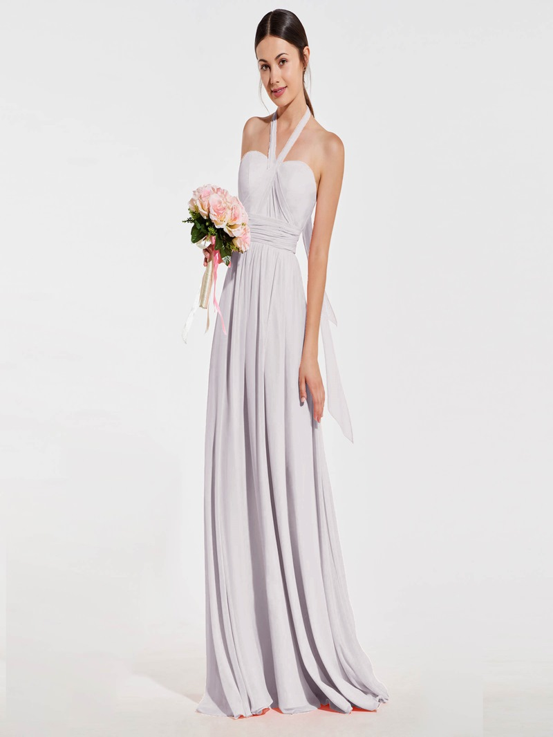 Ericdress Pink Halter Neck Backless A-Line Bridesmaid Dress
