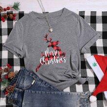 Weihnachten T-Shirt mit Buchstaben Grafik