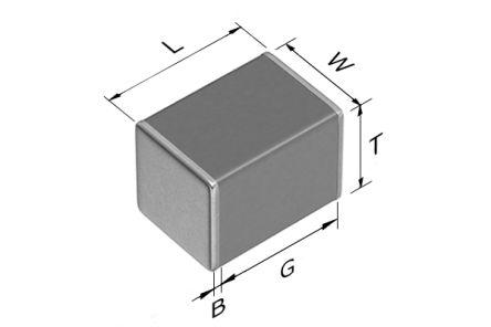 TDK 2220 (5650M) 22μF Multilayer Ceramic Capacitor MLCC 25V dc ±20% SMD CGA9P2X7R1E226M250KA (500)