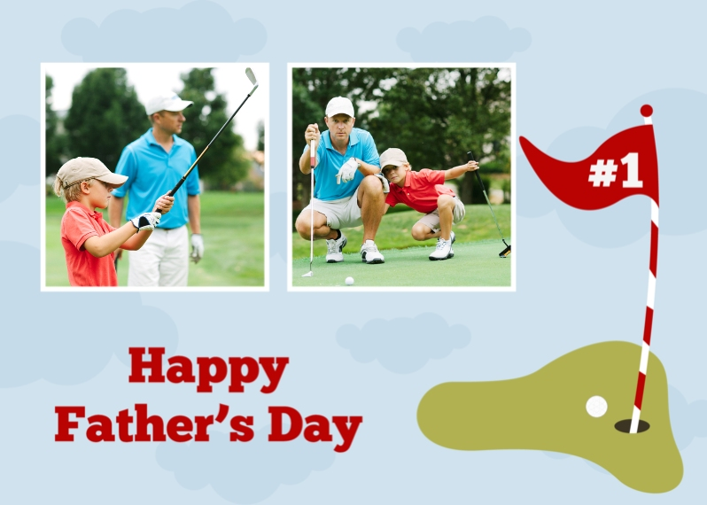Father's Day 5x7 Folded Cards, Premium Cardstock 120lb, Card & Stationery -Hole in One Dad
