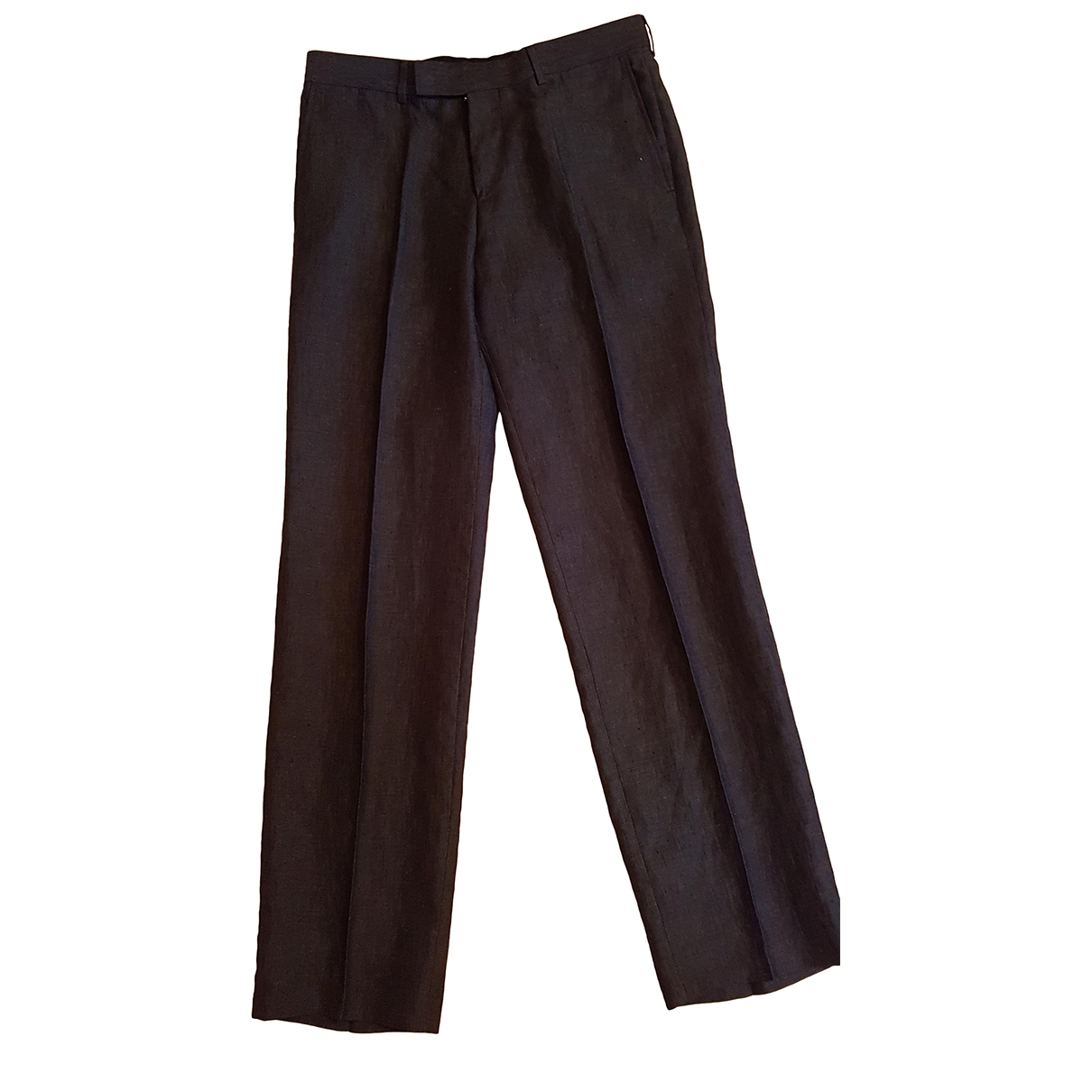 Boss \N Anthracite Linen Trousers for Men 42 FR
