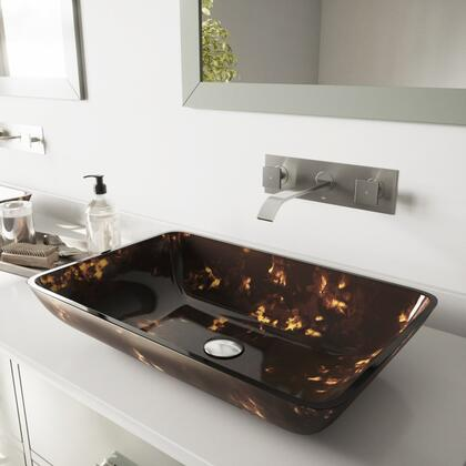 VGT282 Rectangular Brown And Gold Fusion Glass Vessel Bathroom Sink Set With Titus Wall Mount Faucet in Brushed