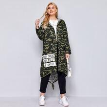 Mantel mit Kordelzug, Stufensaum, Buchstaben Grafik und Kapuze
