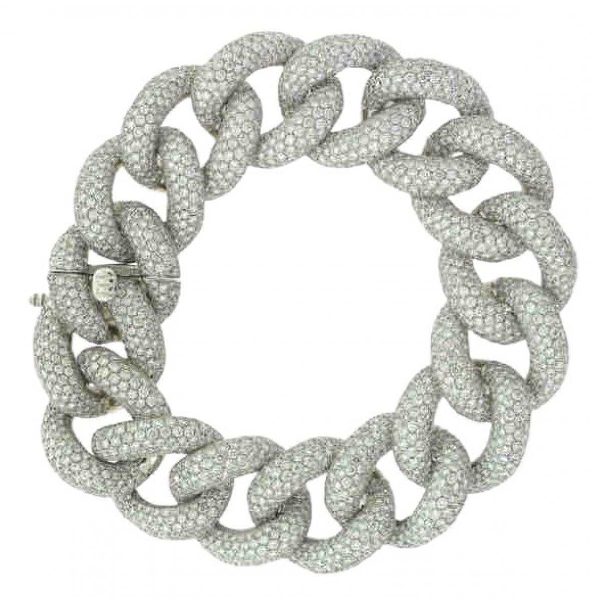 - Bracelet Gourmette pour femme en or blanc - argente