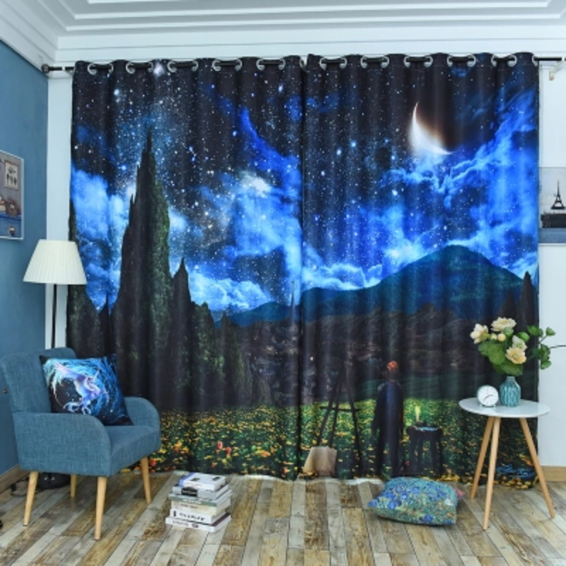3D Night and Star Sky Pattern Custom Cotton and Linen Dark Blue Grommet Top Curtain with Sheer