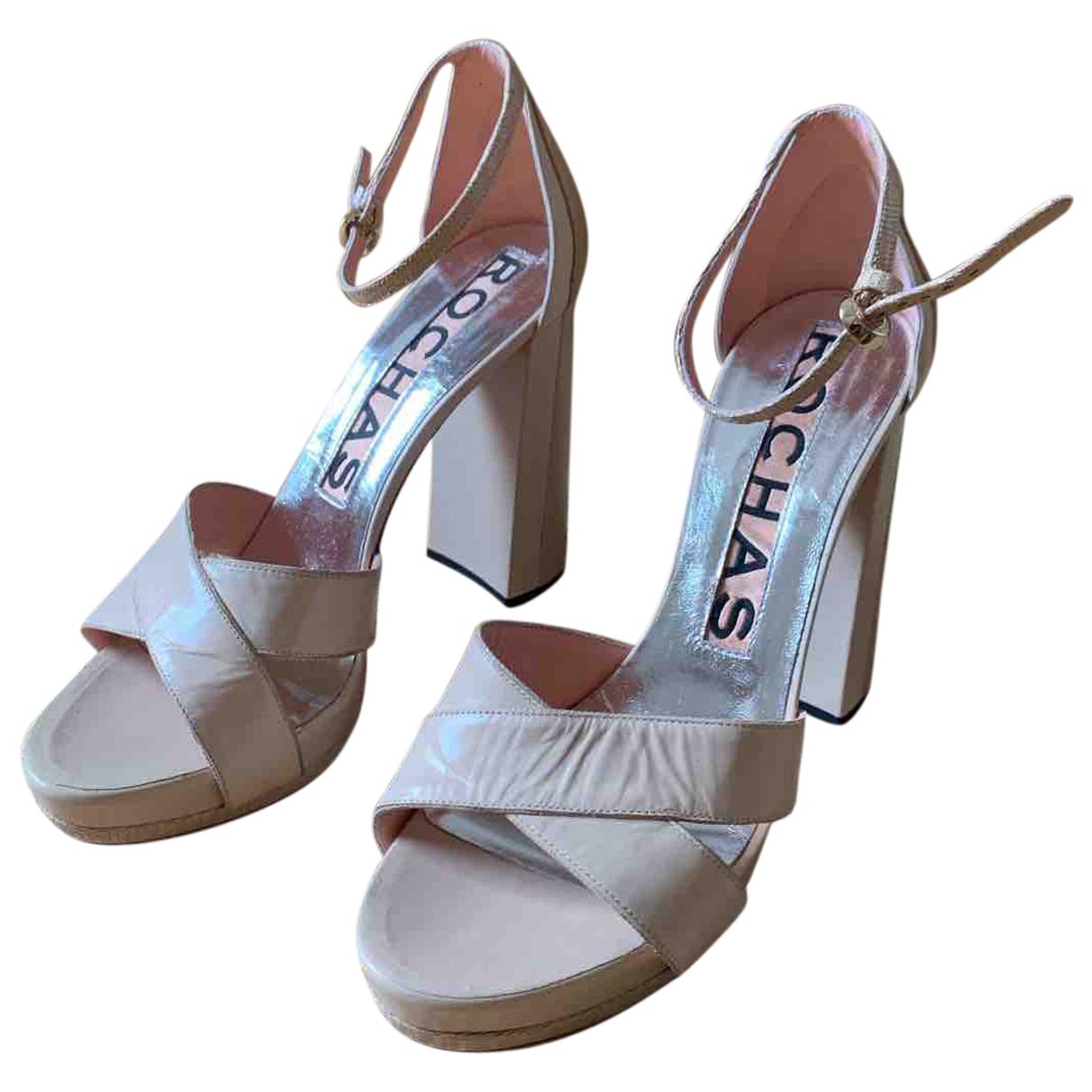 Rochas N Pink Leather Heels for Women 40 EU