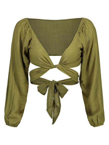 Milanoo Women Crop Top Khaki V-Neck Casual Cupless Long Sleeves Polyester Tops