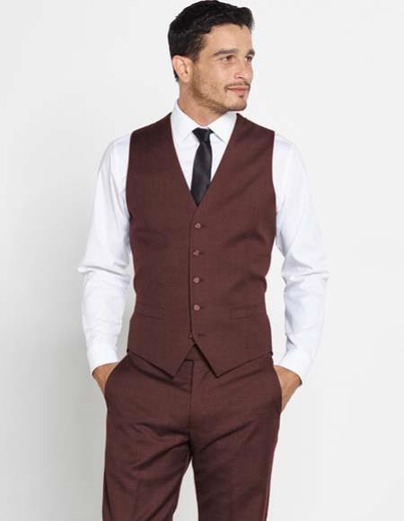 Dark Brown Mens 5 Button Vest Matching Dress Pants Color Shirt Tie