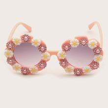 Maedchen Sonnenbrille mit Blumen Dekor auf Rahmen