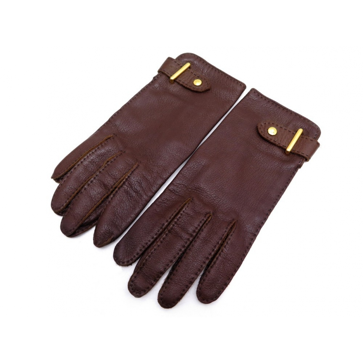 Hermès \N Brown Leather Gloves for Women 7 inches