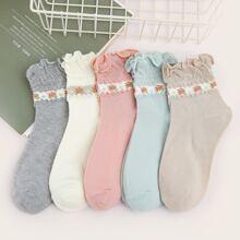 5pairs Ditsy Floral Pattern Ruffle Hem Socks