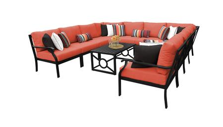MADISON-11a-TANGERINE Kathy Ireland Homes and Gardens Madison Ave. 11 Piece Aluminum Patio Set 11a with 1 Set of Snow and 1 Set of Persimmon