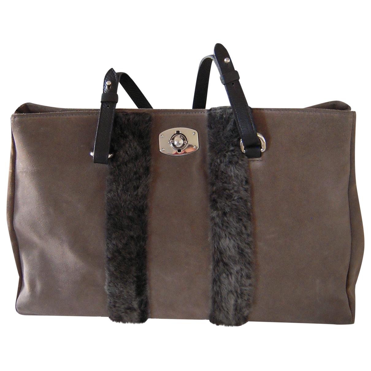 Furla \N Handtasche in  Grau Veloursleder