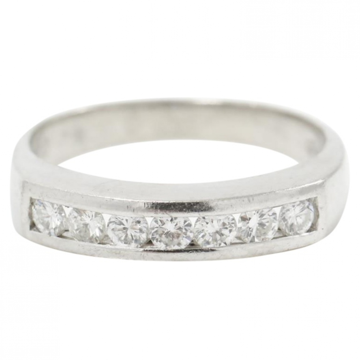 Non Signé / Unsigned Alliance White Platinum ring for Women 50 MM