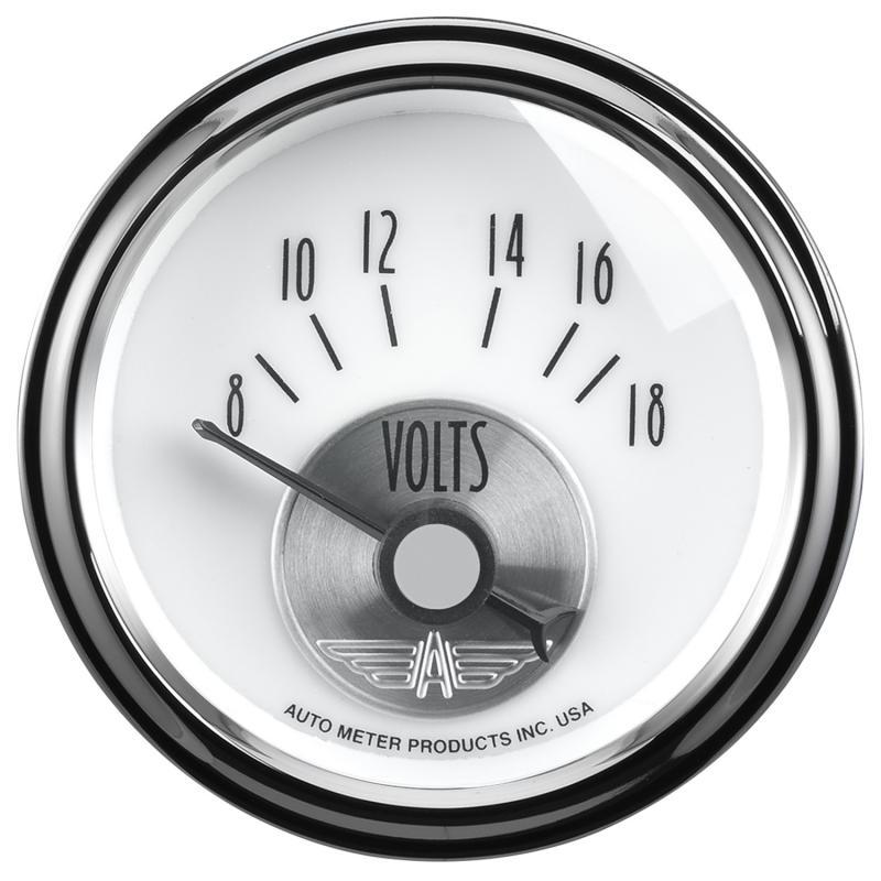AutoMeter GAUGE; VOLTMETER; 2 1/16in.; 18V; ELEC; PRESTIGE PEARL