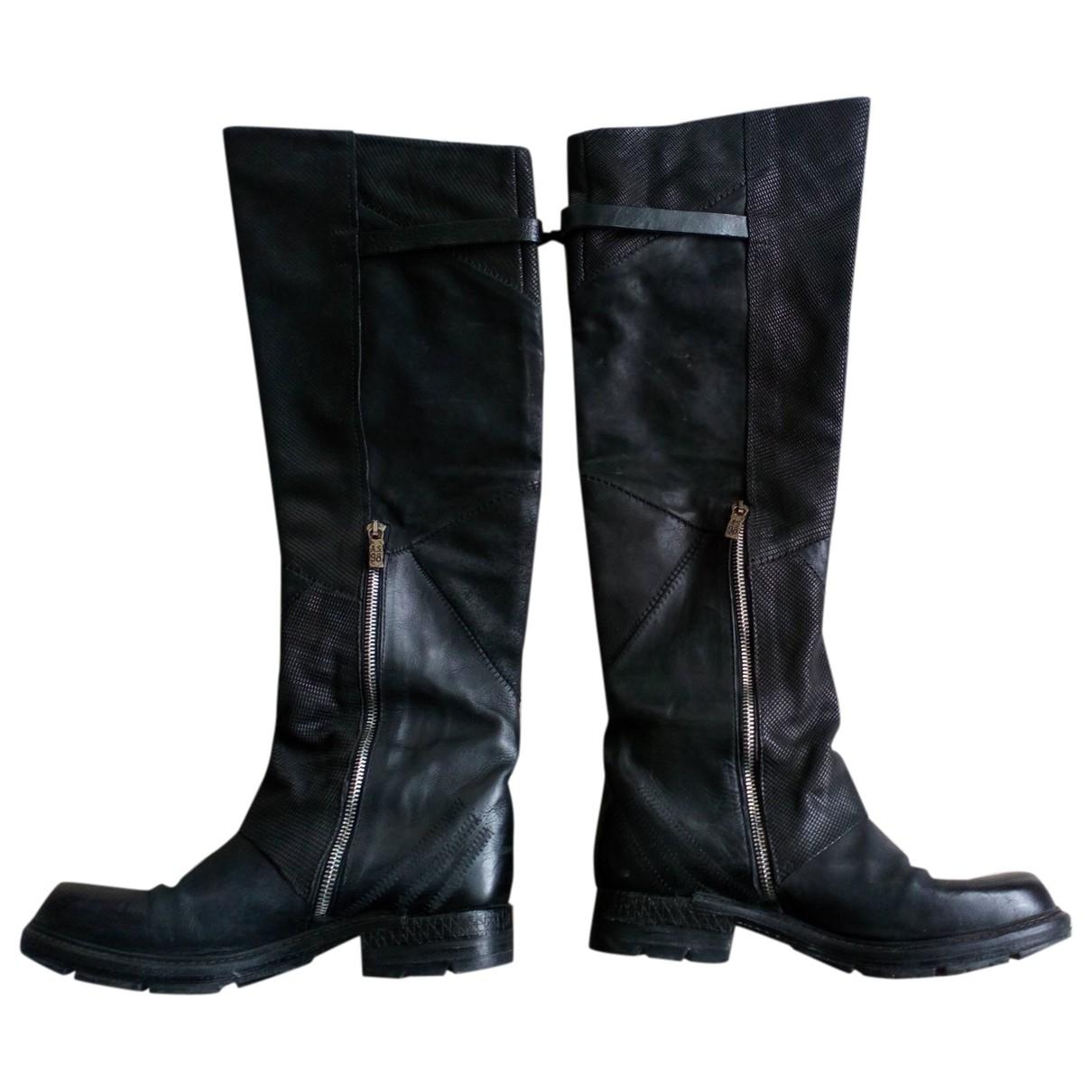 A.s.98 - Bottes   pour femme en cuir - noir