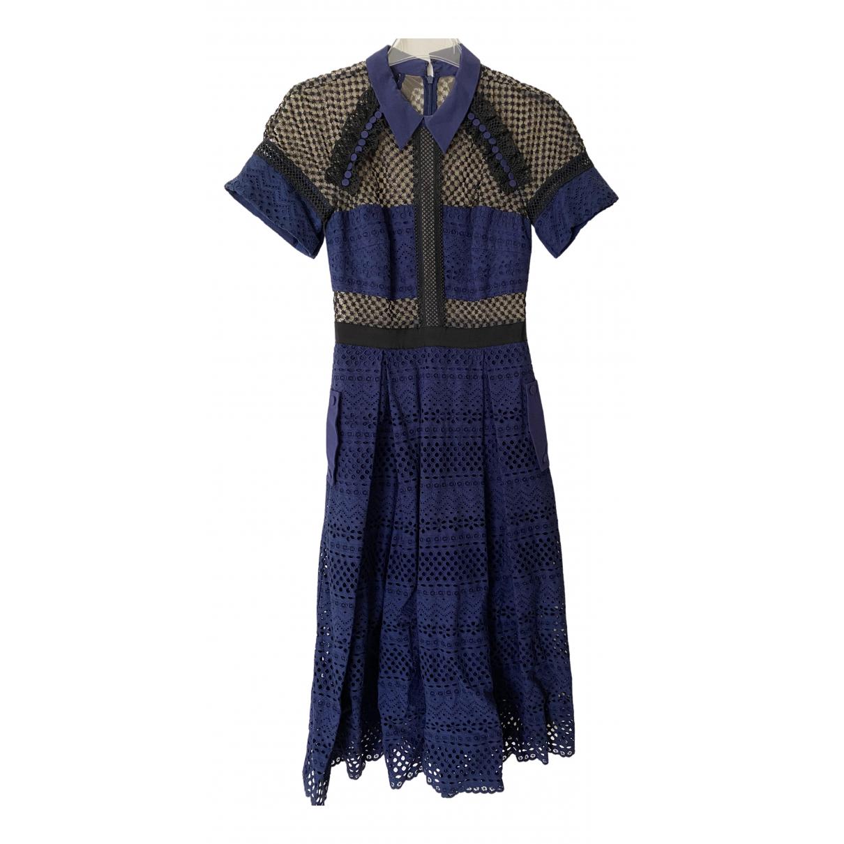Self Portrait \N Blue Cotton dress for Women 8 UK