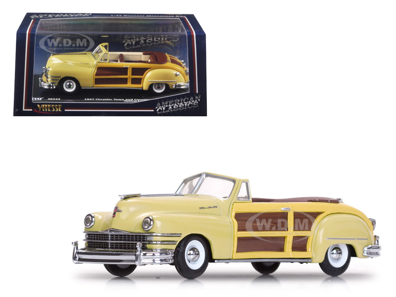 1947 Chrysler Town and Country Yellow Lustre 1/43 Diecast Model Car by Vitesse