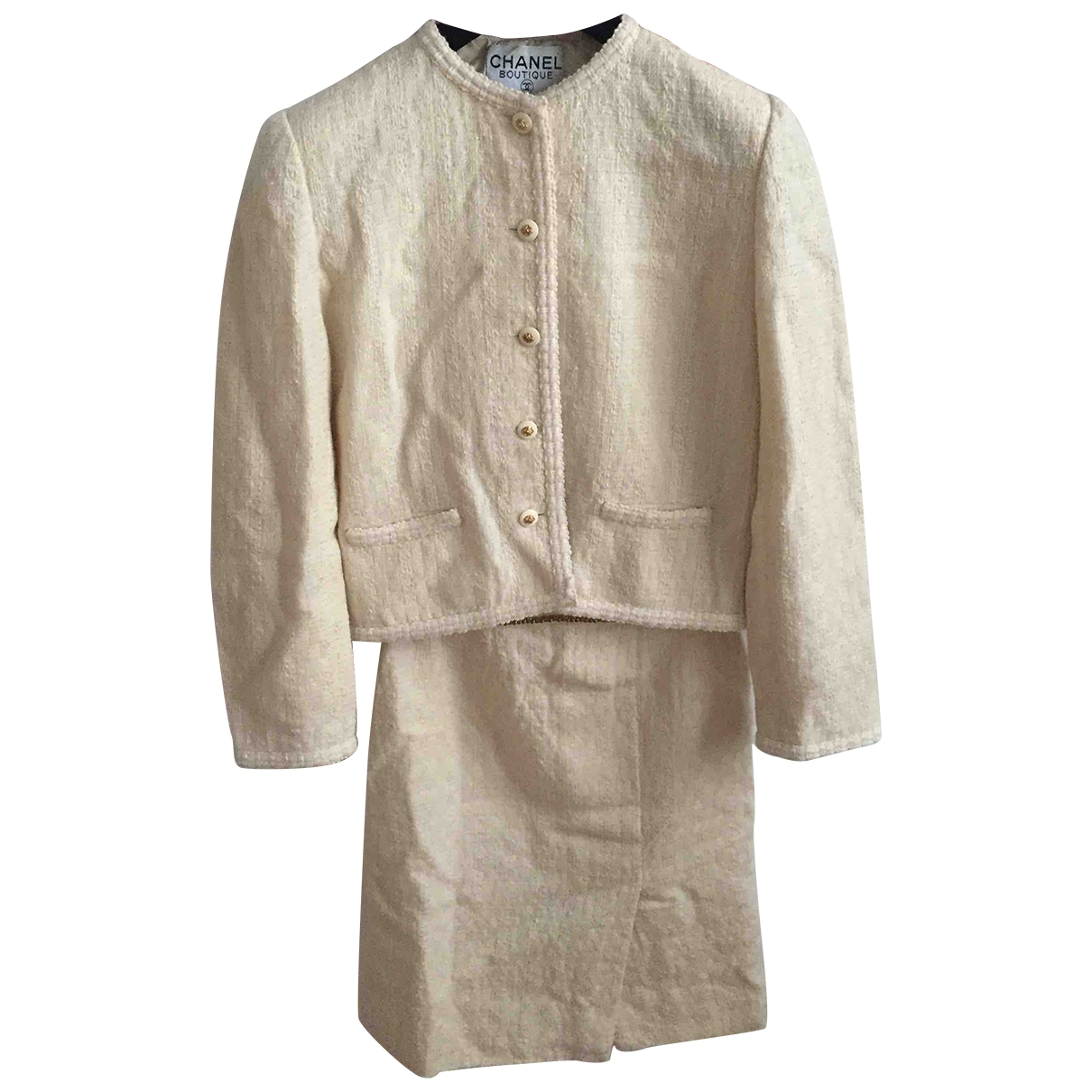 Chanel \N Ecru Tweed jacket for Women 36 FR