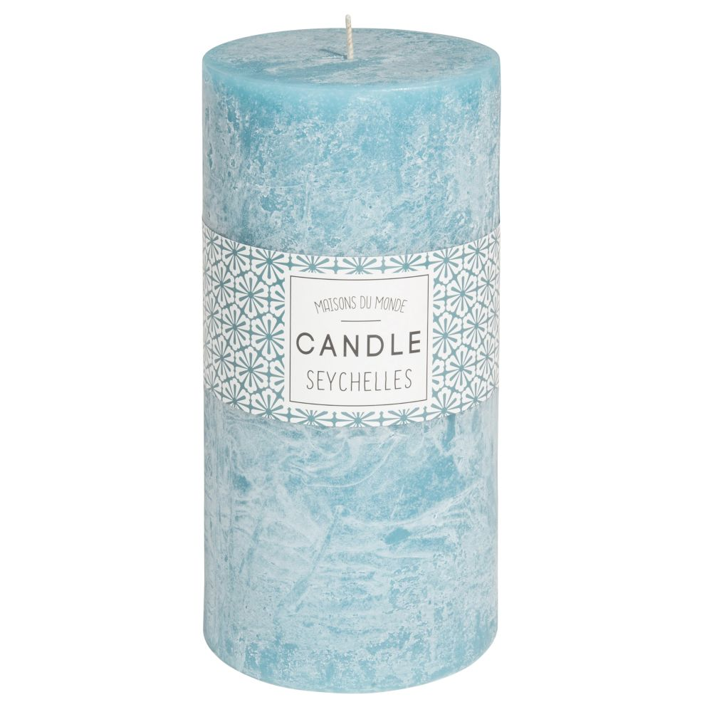 Zylindrische Kerze blau 9 x 18 cm