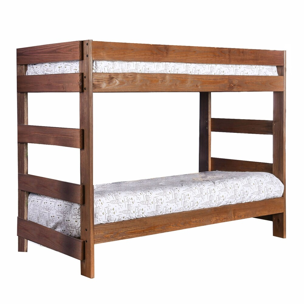 Wooden Twin over Twin Bunk Bed with Plank Style Design, Brown (Twin - Brown)