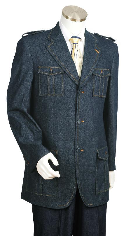 3 Button Blue Denim Fabric Zoot Suit Mens