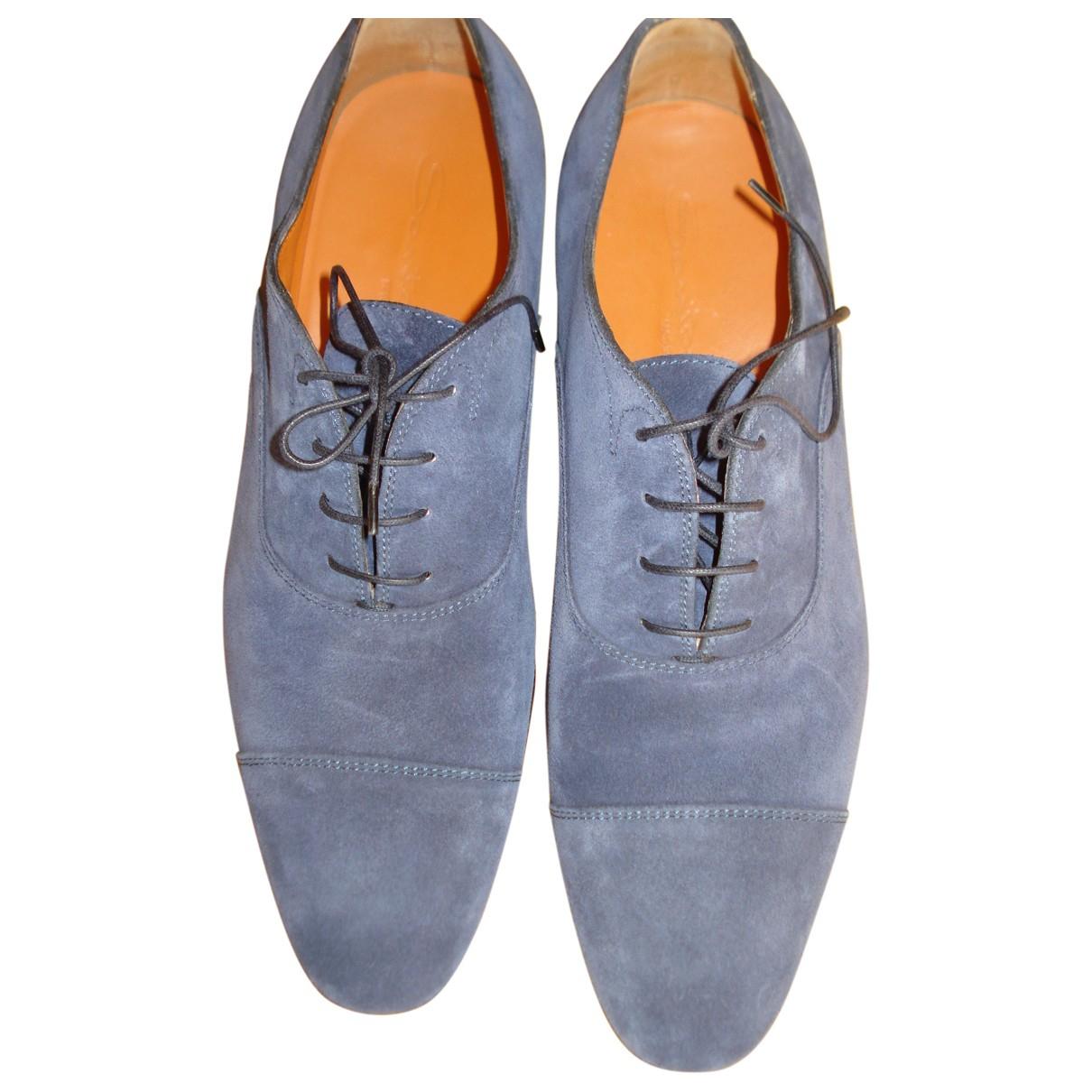 Santoni \N Blue Leather Lace ups for Men 7.5 UK