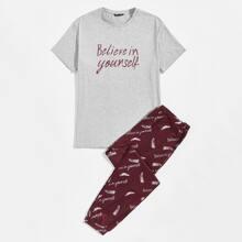 Conjunto top con estampado de slogan y pluma con pantalones