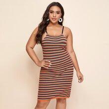 Plus Curved Line Multi Striped Cami Dress