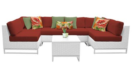 Miami MIAMI-07d-TERRACOTTA 7-Piece Wicker Patio Furniture Set 07d with 2 Corner Chairs  4 Armless Chairs and 1 End Table - Sail White and Terracotta