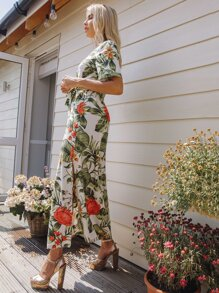 Notched Collar Split Hem Tropical Print Belted Dress