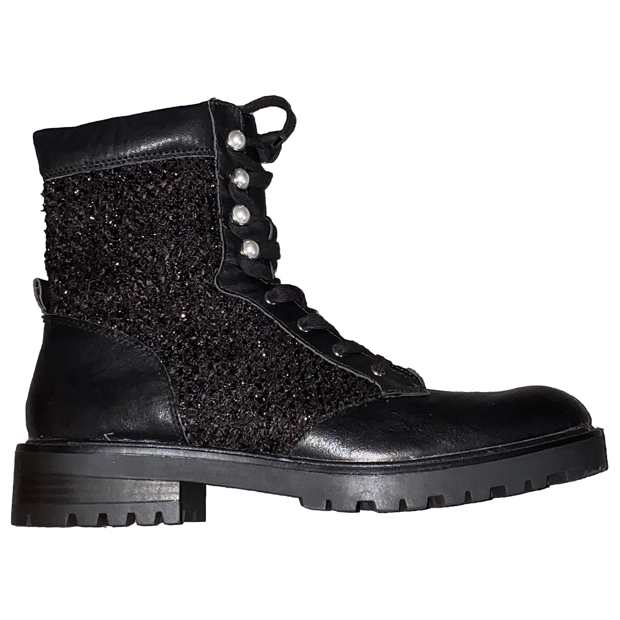 Zara \N Black Leather Boots for Women 42 EU