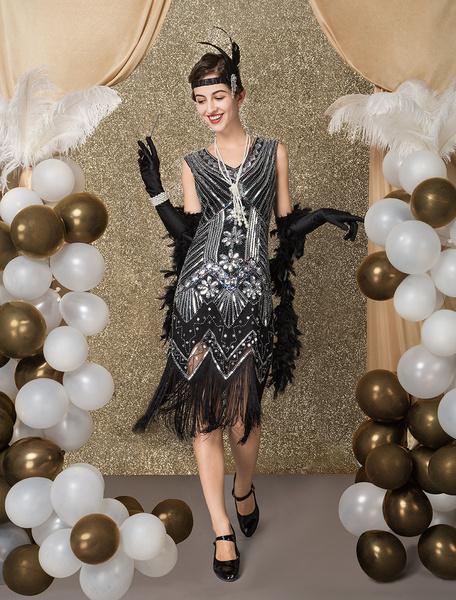 Milanoo Great Gatsby Dress 1920s Fashion Vintage Style Black Sequined Tassels Flapper Girl Dress Vintage Costume Halloween