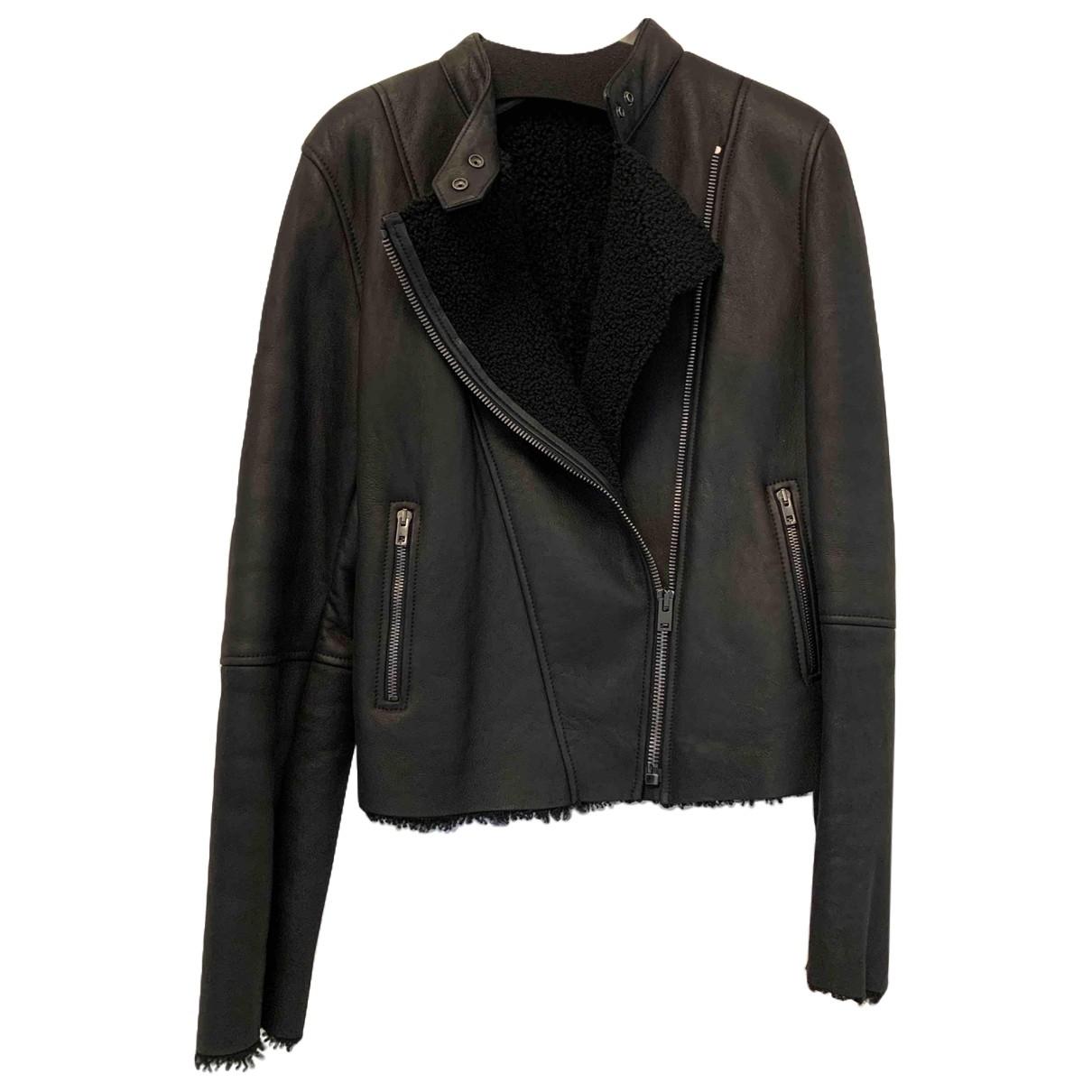 Joseph N Black Shearling Leather jacket for Women 42 FR