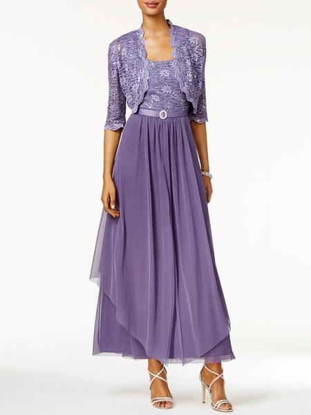 Milanoo Mother Of The Bride Dress 2 Pieces A Line Lace Ankle Length Wedding Guest Dresses