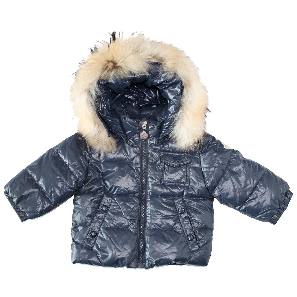 Moncler Fur Hood Blue jacket & coat for Kids 9 months - up to 71cm FR