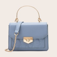 Turn-Lock Quilted Satchel Bag